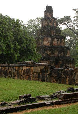 edifice: Satmahal Prasada, or 7-storied edifice, raining, Polonnaruwa, Sri Lanka.