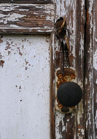 uncoated: Shabby, uncared door of the wooden country house (dacha) in Russia. Stock Photo