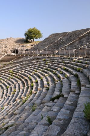 Rows of ancient theater in Ephesus, Turkey photo