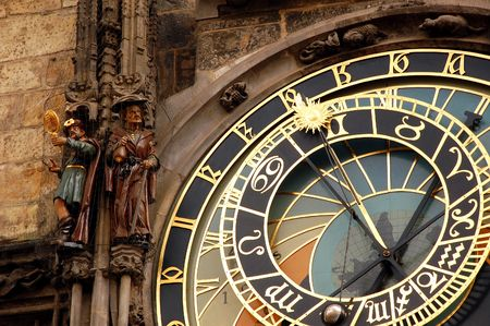 Fragment of astronomical clock in Prague in Czech Republic photo