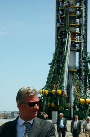 Crown prince of Belgium Philippe at the launch pad at Baikonur cosmodrome, Kazakhstan, 2.5 hours before the launch of Soyuz spaceship with crewmembers Roman Romanenko (Russia), Frank DeWinne (Belgium) and Robert Thirsk (Canada) onboard. Taken on the 27th  Stock Photo - 6885537