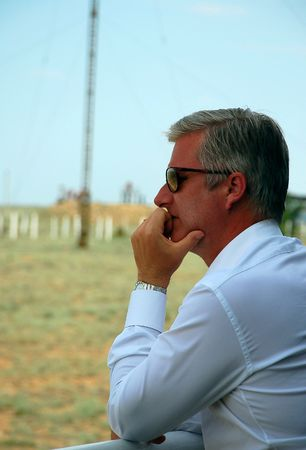 Crown prince Philippe of Belgium is watching Soyuz spacecraft launch at Baikonur cosmodrome, Kazakhstan, on the 27th of May, 2009. Stock Photo - 6886230
