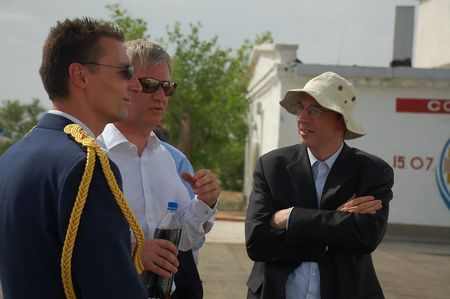 attache: Belgium air attache, Prince Philippe of Belgium and Belgian ambassador to Russia after Soyuz spacecraft launch from Baikonur cosmodrome, Kazakhstan, on the 27th of May, 2009.