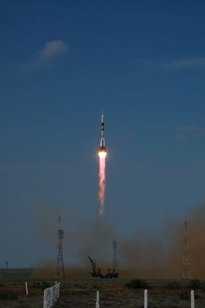 Russian Soyuz TMA-15 spacecraft launch from Baikonur cosmodrome, Kazakhstan on May 27, 2009. The crew includes: Bob Thirsk (Canada), Frank DeWinne (Belgium) and Roman Romanenko (Russia).  Stock Photo - 6888017