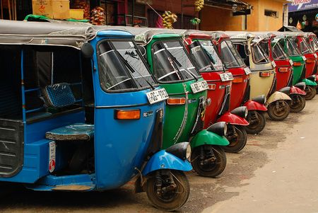 Three-weelers at the tuk-tuk stand in the capital of Sri Lanka Colombo