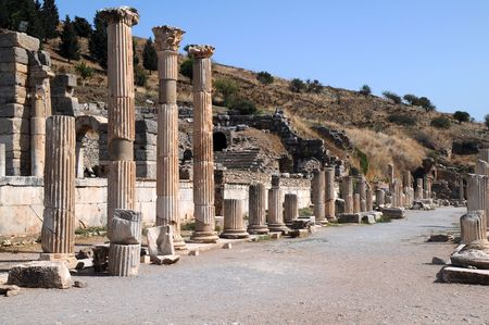Columns near Odeon in the ancient town of Ephesus in Turkey. Stock Photo