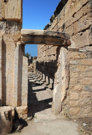 latrine: Building of the public latrine in the ancient town of Hierapolis