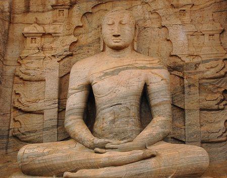 Statue of seated Buddha in ancient city of Polonnaruwa in Gal Vihara, Sri Lanka. Stock Photo - 6742028