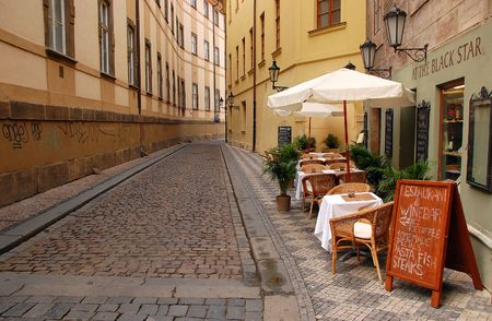 Empty street in the city of Prague in Czechia Editorial