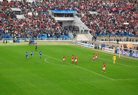 DynamoMoscow players are celebrating a goal in the game vs SpartakMoscow at Dynamo FC stadium in Moscow, Russia,  on the 13th of April, 2008. Editorial