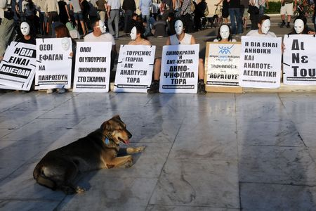 People wearing white masks are protesting in the capital of  Greece Athens outside the Parliament building on the 9th of May, 2010, against unpopular EU-IMF austerity deal while a stray dog is peacefully lying in front of them