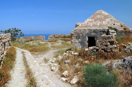 fortezza: Part of ancient Venetian Fortezza (fortress) in the town of Rethymnon (Rethymno) on island Crete, Greece.