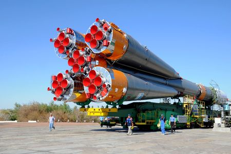 Russian Progress rocket is arriving at the launch pad at Baikonur cosmodrome in Kazakhstan on the 28th of June, 2010, to be launched to International space station on the 30th of June, 2010.
