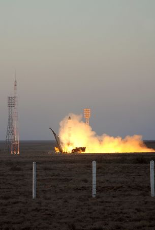 orbital spacecraft: BAIKONUR, KAZAKHSTAN, 30th OF JUNE, 2010. Russian Progress cargo spacecraft launch from Baikonur cosmodrome to deliver cargos and payloads to the International Space Station.