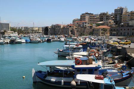 Old Venetian port in the town of Heraklion on Crete island in Greece photo