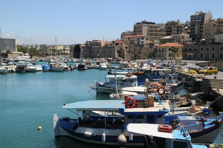 Old Venetian port in the town of Heraklion on Crete island in Greece