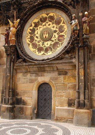 timekeeping: Detail of Orloy astronomical clock in Prague in Czech Republic
