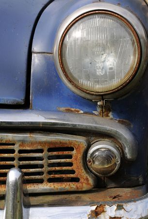 made in russia: Part of old rusty car made in Russia