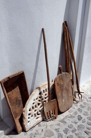 spading fork: Vintage rusty tools for agricultural labor in Greek village. Stock Photo