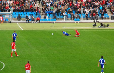 MOSCOW - APRIL 13: Roman Pavlyuchenko violates rules playing for SpartakMoscow vs DynamoMoscow at Dynamo stadium April 13, 2008 in Moscow, Russia.