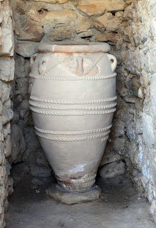 Ancient pithos in Phaestus on Crete island in Greece