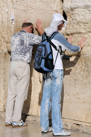siddur: Two worshipers at the Wailing Wall in Jerusalem, Israel Editorial