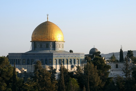 Dome of the Rock Mosque view from medrese at sunset in Jerusalem , Israel Stock Photo - 8540437