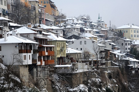 cluster house: View of the town of Veliko Tarnovo in Bulgaria in the winter