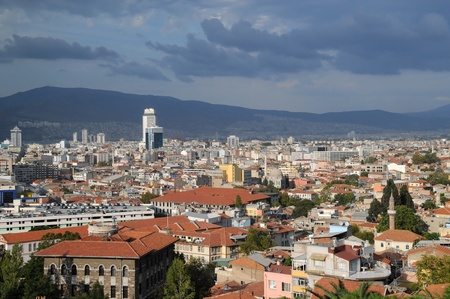 View of the city of Izmir in Turkey before storm