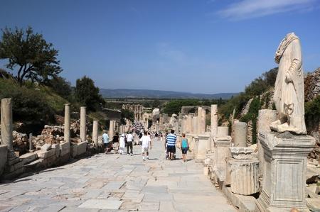 Curetes street in ancient Ephesus in Turkey photo