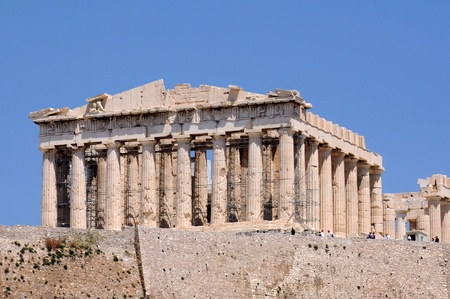 Parthenon temple in the Athenian Acropolis in Greece against the blue sky background