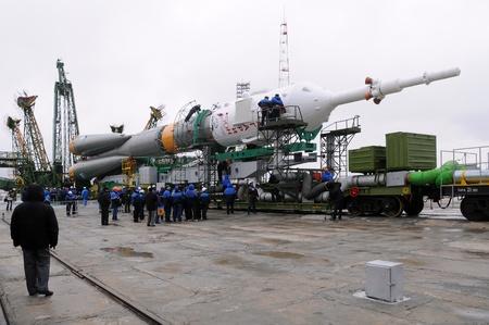 BAIKONUR, KAZAKHSTAN - APRIL 2: Russian Soyuz TMA-21 spacecraft has just arrived at the launch pad April 2, 2011 at Baikonur cosmodrome, Kazakhstan.