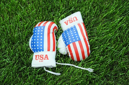 Pair of used boxing gloves with US national symbol on the green grass photo