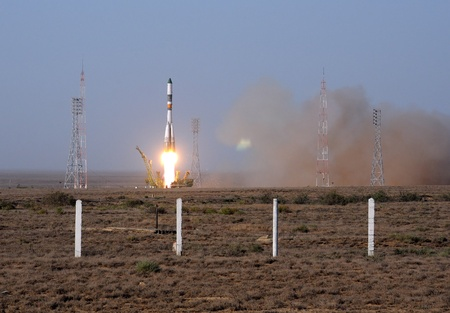 BAIKONUR, KAZAKHSTAN - AUGUST 24: Russian Progress cargo vehicle launch August 24, 2011, from Baikonur cosmodrome, Kazakhstan. It will be crashed 320 seconds after launch.  Editorial