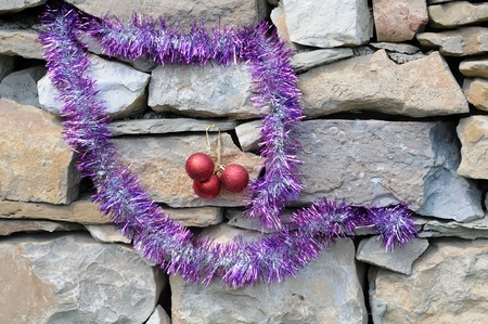 frippery: Elements of Christmas decorations on the masonry construction