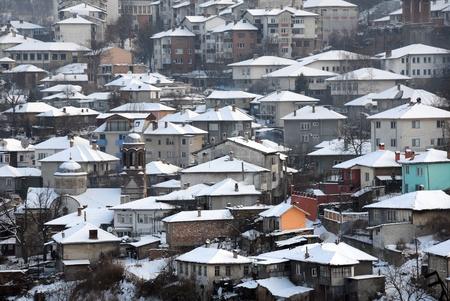 Closeup image of Veliko Tarnovo in the winter