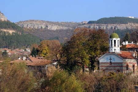 Asenov district and Church of St. Peter and Paul in the city of Veliko Tarnovo in Bulgaria in the fall photo