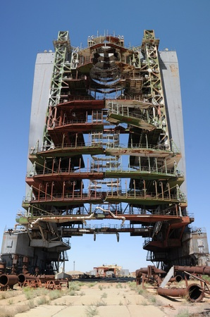 crap: Abandoned mobile service tower at Baikonur cosmodome in Kazakhstan for Soviet Energia rocket and Buran shuttle Editorial