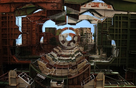 View from below of the interior of the abandoned mobile service tower at Baikonur cosmodome in Kazakhstan for Soviet Energia rocket and Buran shuttle