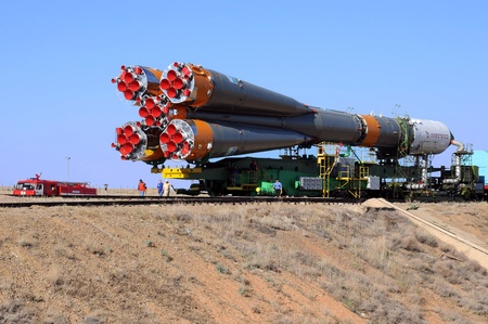 BAIKONUR, KAZAKHSTAN - JUNE 28: Russian Progress spacecraft on the way to the  launch pad June 28, 2010 at Baikonur cosmodrome, Kazakhstan. It will be launched to International space station on June 30, 2010  Editorial