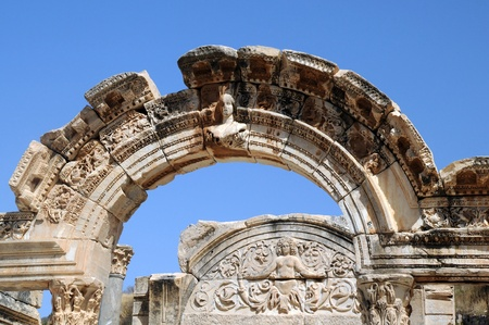 Part of the Temple of Hadrian in ancient Ephesus in Turkey Stock Photo