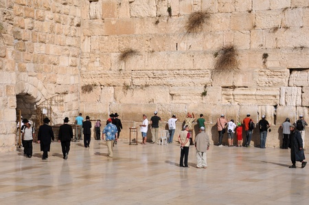 JERUSALEM, ISRAEL - NOVEMBER 10: Jewish worshipers pray at the Wailing Wall November 10, 2010 in Jerusalem, Israel