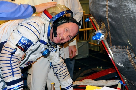 BAIKONUR, KAZAKHSTAN � DECEMBER 9: Expedition 31 ESA crewmember Andre Kuipers flashes a smile as he boards Soyuz TMA-03M spacecraft before fit check December 9, 2011 at Baikonur Cosmodrome, Kazakhstan Editorial