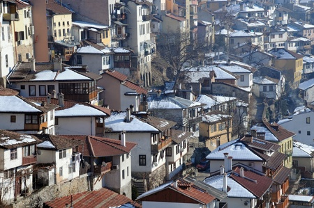 Residential area of the city of Veliko Tarnovo in Bulgaria in the winter photo