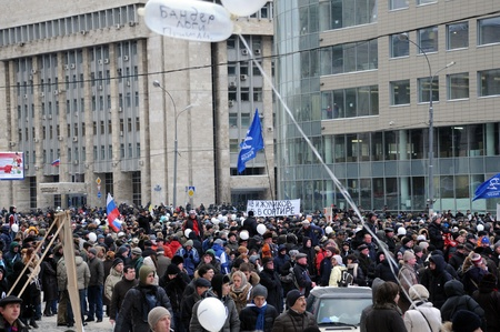 backlash: MOSCOW - DECEMBER 24: Protest rally �For Fair Elections� in Sakharov Ave. December 24, 2011 Moscow, Russia