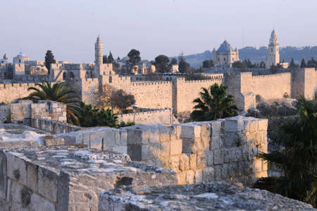 View of the part of the Old City in Jerusalem, Israel, at sunset.