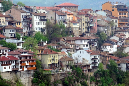 Congested residential district of Veliko Tarnovo in Bulgaria on a gloomy day in the spring