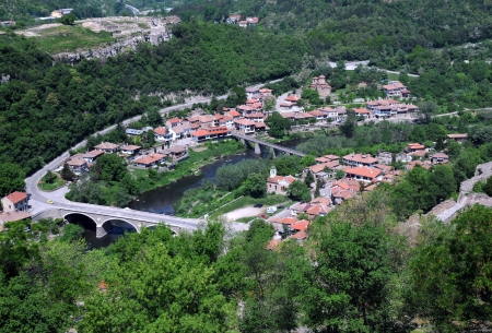 bird view: Bird view of Asenov district of Veliko Tarnovo in Bulgaria in the summer