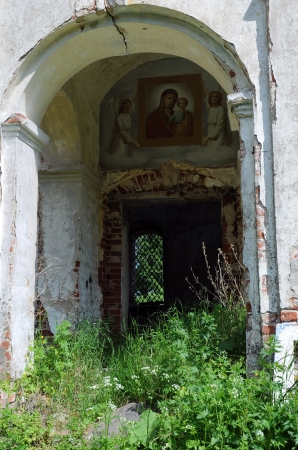 fragment: Fragment of abandoned half-ruined medieval Orthodox church in Central Russia