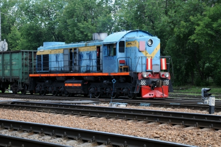 switching: Vintage diesel electric locomotive during switching in Russia